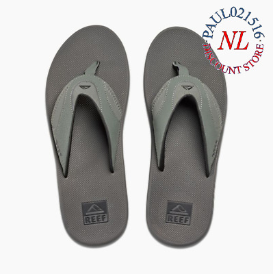 c9d016a941b Reef Men s FANNING LOW Bottle Opener Flip Flop Sandal~ Grey Black~ Various  Sizes