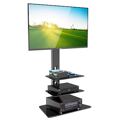 1home Cantilever Glass TV Stand, Media Entertainment Center with Swivel Height
