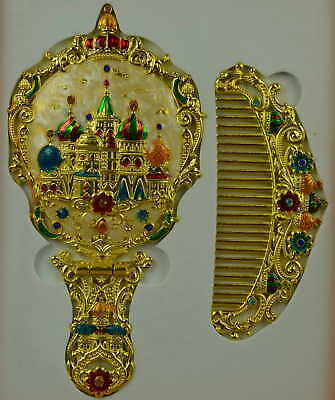 AAA Decor Cloisonne Carve Royal Castle Flower Noble Hand Mirror Comb & Gift Box