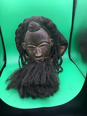 Rare Antique Primitive African Mask With Real Hair