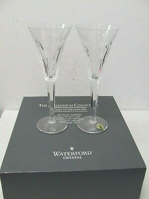 Waterford Crystal Flutes Millennium Collection Second Toast Love Set Of 2 READ