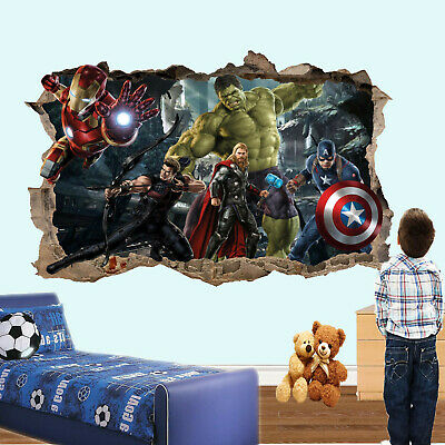Heroes Superhero Action Avengers Wall Sticker Art 3D Decal Mural Home Decor RP0