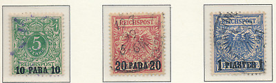 Germany, Offices In Turkey Stamps Scott #8 To 10, Used, Short Set