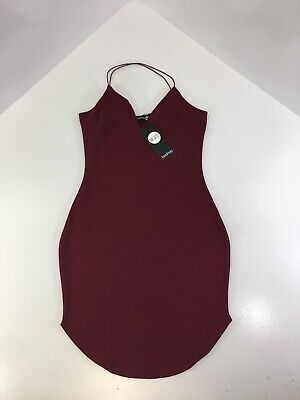 edb35fda4eab Boohoo Womens Christy Curved Hem Strappy Bodycon Dress Size 6 US Berry NWT