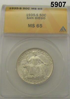 1935 S San Diego Commemorative Half Dollar Anacs Certified Ms65 Flashy! #5907