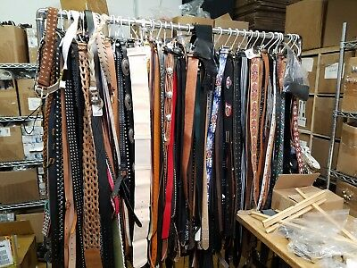 BELTS SAMPLE SALE - Lot of 50 Leather Women's Belts, Assorted Colors & Sizes.