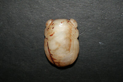 Old Carved Chinese Jade Toggle Pendant Netsuke Animal Beetle Cream & Brown