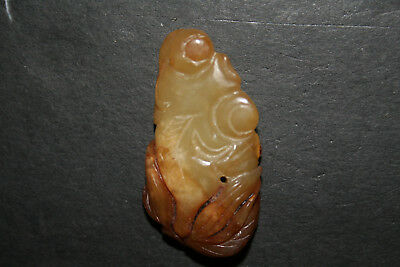 Old Carved Chinese Jade Toggle Pendant Netsuke Floral Abstract Green Cream Brown