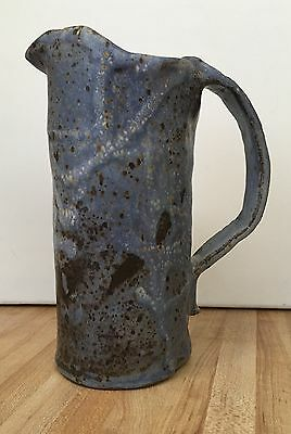 Vintage Art Pottery Slate Blue Pitcher Unique Decorative 9""