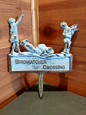 "Vintage Cast Iron Embossed ""bird Watcher Crossing"" Garden Stake/sign"