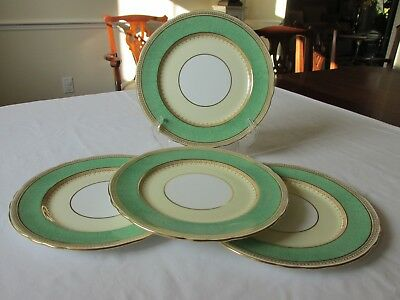 (4) Antique Aynsley England Pearl-Green Bone China Scalloped Dinner Plates Nmint