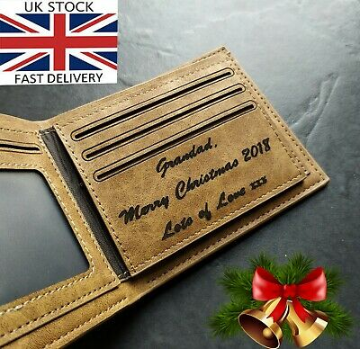 Gents Personalised Engraved Real Wallet Birthday Gift Graduation Anniversary Men