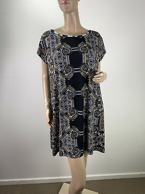 fda543e52b45a6 Tigerlily Printed Short Sleeve Summer Stretch Loose Boho Dress Size S  (T00545)