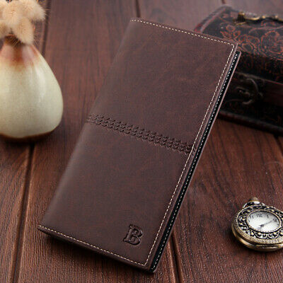 Luxury Men Leather Wallet ID Card Holder Purse Checkbook Long Clutch Billfold