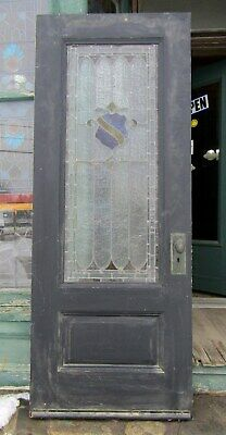 Victorian Era Entry Door W Stained Glass - 32 By 82