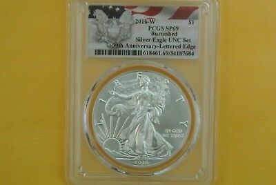 2016-W Burnished Silver Eagle PCGS SP69 -- from the annual dollar set  (UNC Set)