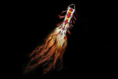 """NATIVE AMERICAN SIOUX QUILLED AND BEADED SHEATH - HORSE MANE DROP 32"""" long; 1880"""