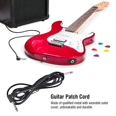 10Ft Electric Patch Cord Guitar Amplifier Amp Cable Wire Right Angle to Straight