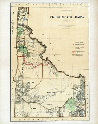1876 Department Interior MAP Territory Idaho Geographical political 4