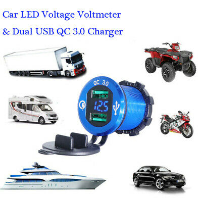 QC 3.0 Dual USB Charger Socket LED Voltmeter Waterproof For Boat Car Motorcycle