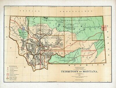 1876 Department Interior MAP Territory of Montana Geographical political 16