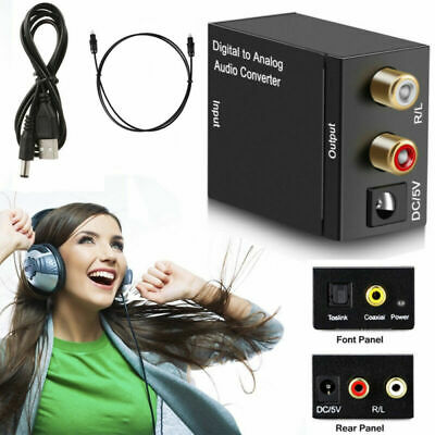Digital Optical Coaxial Toslink Coax to Analog L/R RCA Audio Converter Adapter