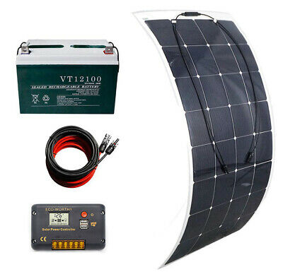 160W flexible solar panel system 20A LCD charge controller 100AH battery for RV