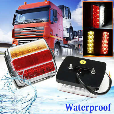 Waterproof Submersible 16 LED Truck Trailer Boat Rear Stop Tail Turn Light 12V
