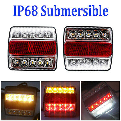 NEW Rear LED Submersible Trailer Tail Lights Kit Boat Marker Truck Waterproof