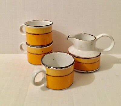 3 Cups, 1 Creamer by Wedgwood Midwinter Stonehenge Sun England Lot Vintage
