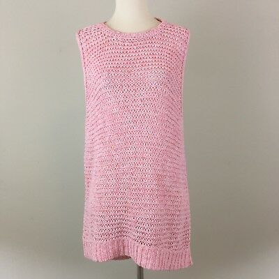a2fa2c74df989 Lou And Gray Pink Sleeveless Knit Tunic Sweater Tank Top High Low Medium