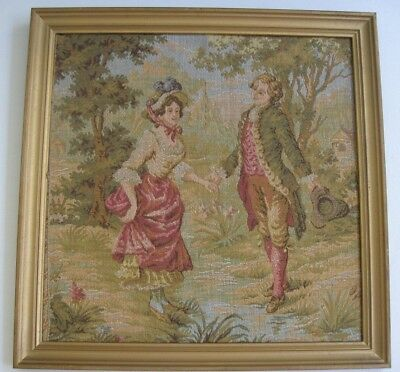 vintage woven FRENCH TAPESTRY Framed Picture 18th Century COUPLE 25.7cm square