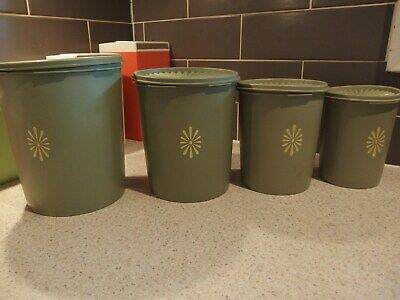 Set Of 4 Olive Green Tupperware Storage Canisters