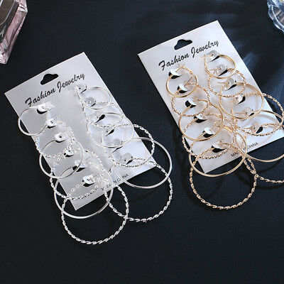6 Pairs Fashion Women Gold Silver Hoop Ear Stud Jewelry Lady Round Earrings Gift