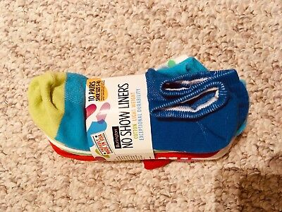 Burlington Women NoShow Liners 10 Pairs Multi-Color Socks size 5-10 NEW with tag