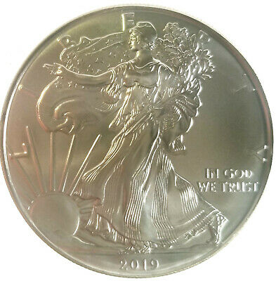 2019 Silver Eagle 1oz US Coin, .999 Fine Bullion, Gem BU, Flawless.