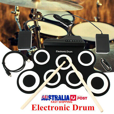 7 Pad Electronic Roll Up Drum Kit Silicone Portable Electric Drum Record Stick