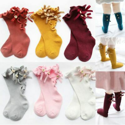 Girls Infant Baby Long Socks With Bows Ruffle Toddler Girl Knee High Sock  Hot