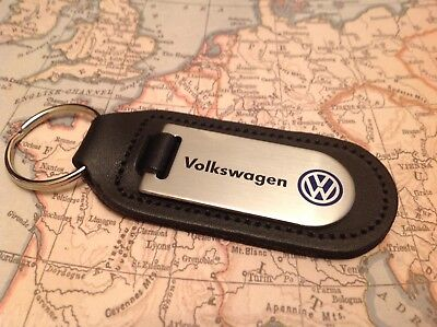 Vw Volkswagen Black Leather Key Ring Fob Etched And Infilled  Golf Polo Gti