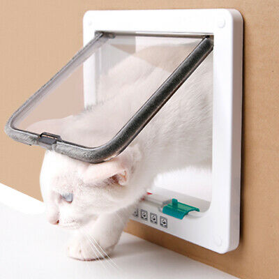 White 4-Way Locking Lockable Pet Cat Dog Safe Flap Door Lock Gate M L SIZE