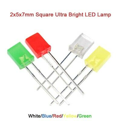 Square 2x5x7mm Ultra Bright LED Lamp Emitting Diode White Blue Red Yellow Green