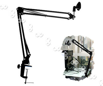 Microphone Suspension Boom Scissor Arm Mic Stand Holder for Studio Broadcast