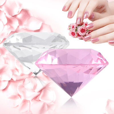 Crystal Clear Paperweight Faceted Cut Glass large Diamond Jewelry Decor 60mm js