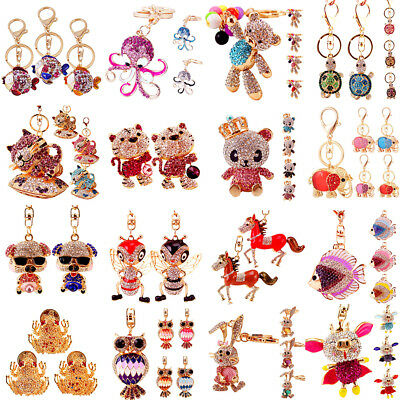 Charm 3D Animal Crystal Keyring Bag Purse Car Key Chains Rings Jewelry Gifts NEW