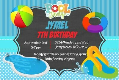 Boys Pool Party Birthday Invitation Printable