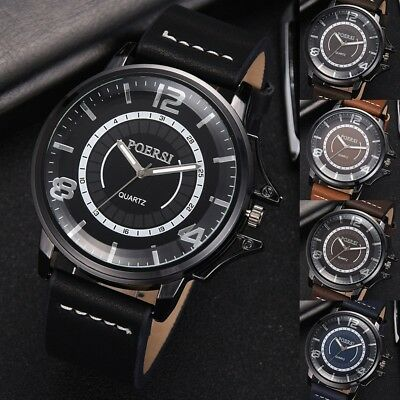 Fashion Men's Leather Military Casual Watches Analog Quartz Business Wrist Watch