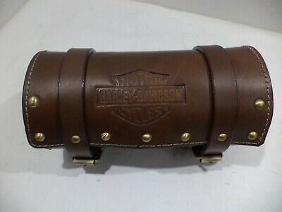 New brown color pure leather tool bag with brass studs for Harley Davidson
