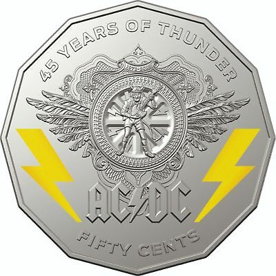 2018 50 Cents Ac/Dc 45 Years Of Thunder Coloured Unc Coin