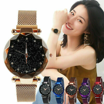 Starry Sky Watch Waterproof Magnet Stainless Steel Strap Free Buckle Women Gift+