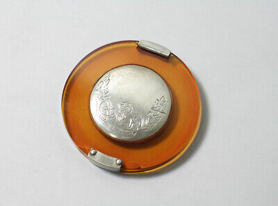 Sterling Silver and Amber Tone Clear Enamel MAKEUP COMPACT Vintage ROUND LARGE